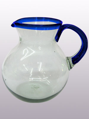 Wholesale MEXICAN GLASSWARE / 'Cobalt Blue Rim' blown glass pitcher / This classic pitcher is perfect for pouring out all kinds of refreshing drinks.